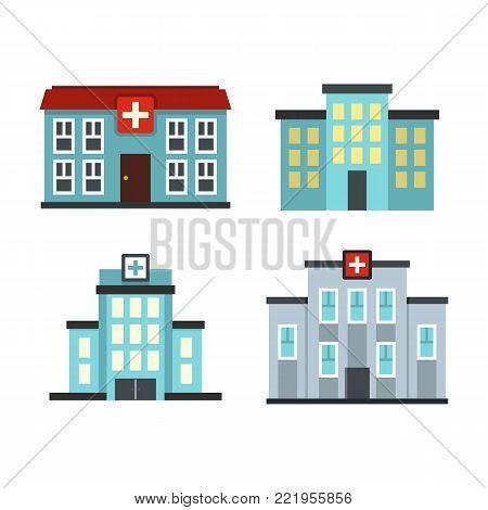Hospital icon set. Flat set of hospital vector icons for web design isolated on white background