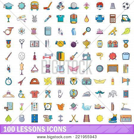 100 lessons icons set. Cartoon illustration of 100 lessons vector icons isolated on white background