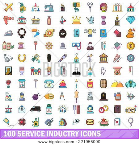 100 service industry icons set. Cartoon illustration of 100 service industry vector icons isolated on white background