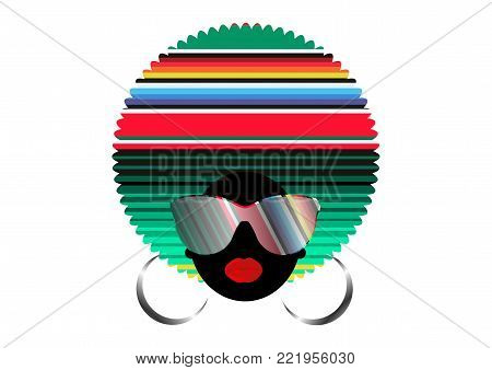 portrait African Women , dark skin female face with hair afro and  colorful glasses in traditional ethnic mexican turban on isolated background , hairstyle concept