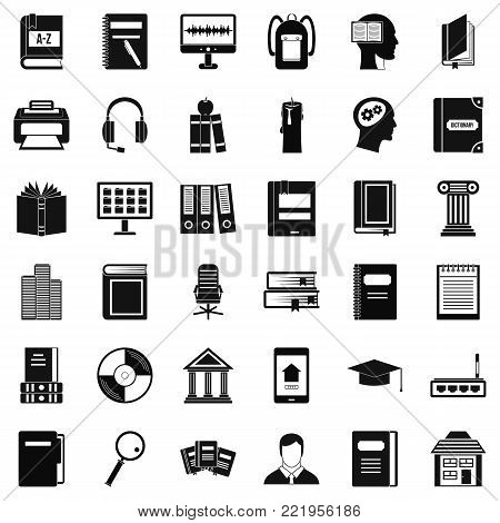 Bookshelf icons set. Simple style of 36 bookshelf vector icons for web isolated on white background