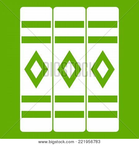 Three literary books icon white isolated on green background. Vector illustration
