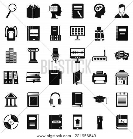 Reading book icons set. Simple style of 36 reading book vector icons for web isolated on white background