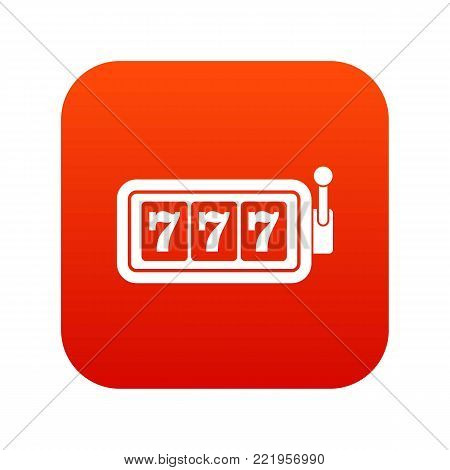 Lucky seven on slot machine icon digital red for any design isolated on white vector illustration