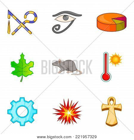 Eastern sign icons set. Cartoon set of 9 eastern sign vector icons for web isolated on white background