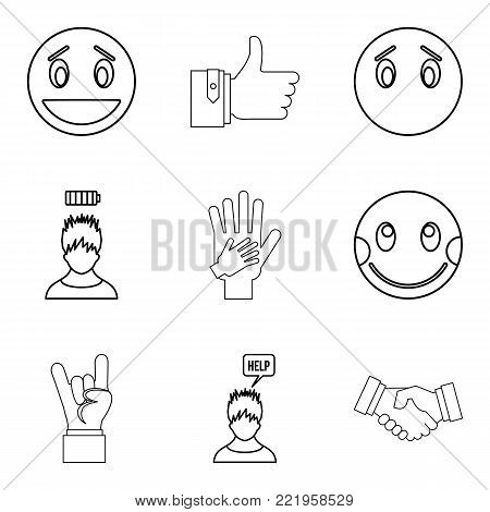 Emotional icons set. Outline set of 9 emotional vector icons for web isolated on white background