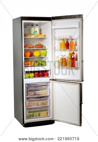 Open refrigerator full of different food on white background