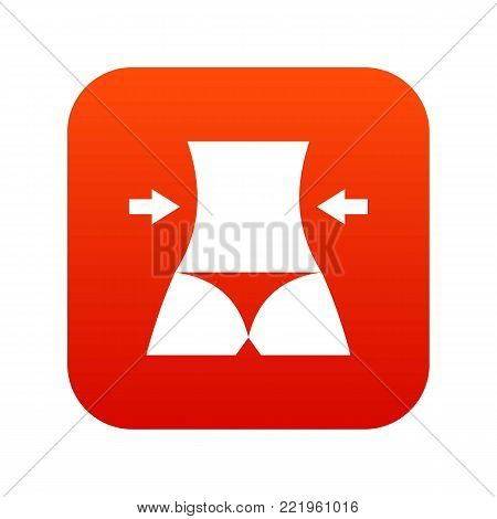 Slim body of a woman icon digital red for any design isolated on white vector illustration