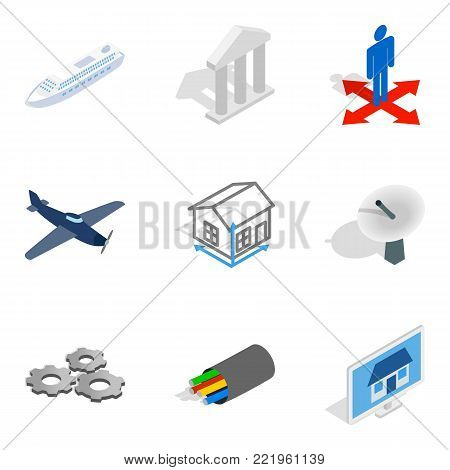 Air engineer icons set. Isometric set of 9 air engineer vector icons for web isolated on white background