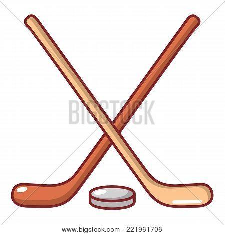 Hockey stick icon. Cartoon illustration of hockey stick vector icon for web