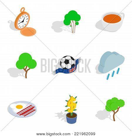 English stereotype icons set. Isometric set of 9 english stereotype vector icons for web isolated on white background