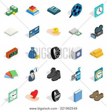 Pledge icons set. Isometric set of 25 pledge vector icons for web isolated on white background