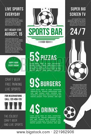 Soccer sports bar or football fan club beer pub menu template. Vector price for beer drink, fast food snacks and pizza or burgers for live football team league championship or football game tournament