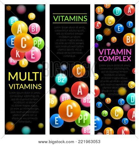 Multi vitamins complex banners of vitamin pills of A, B and ascorbic acid C, D and PP or multivitamin D. Vector design for medical dietary supplement or healthy lifestyle advertising template