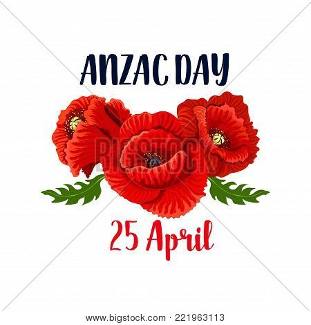 Anzac day red poppy vector photo free trial bigstock anzac day red poppy flowers icon design for 25 april australian and new zealand remembrance anniversary mightylinksfo