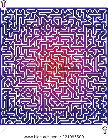 Vector Easy Violet Square Maze for Children