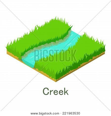 Creek icon. Isometric illustration of creek vector icon for web.