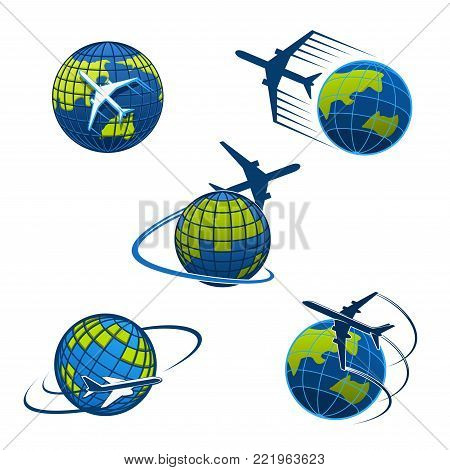 Airplane and world globe icon templates for travel agency or air post mail delivery and logistics service company. Vector isolated aircraft flying around earth for tourism journey or airlines voyage