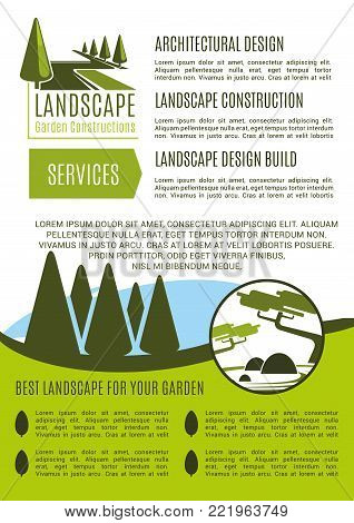 Gardens landscape design and gardening horticulture company service poster template. Vector green nature trees or park gardens and woodland plantations for landscaping and green garden construction
