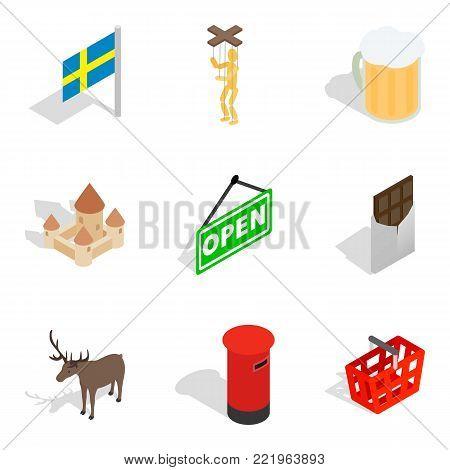 Region of europe icons set. Isometric set of 9 region of europe vector icons for web isolated on white background
