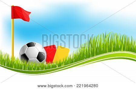 Soccer or football game background design template for fan club or college team championship or tournament. Vector soccer ball on arena stadium grass, league flags and referee cards for football match