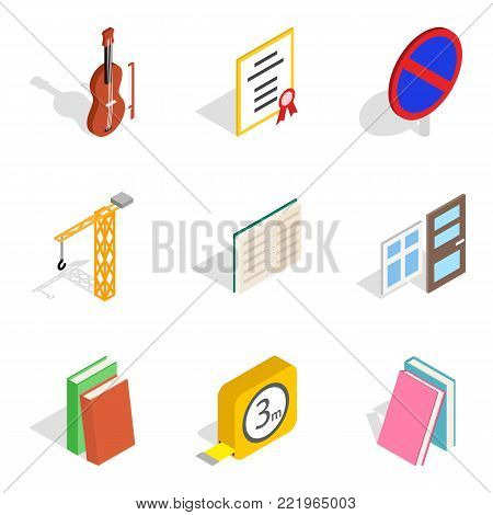 Exam paper icons set. Isometric set of 9 exam paper vector icons for web isolated on white background