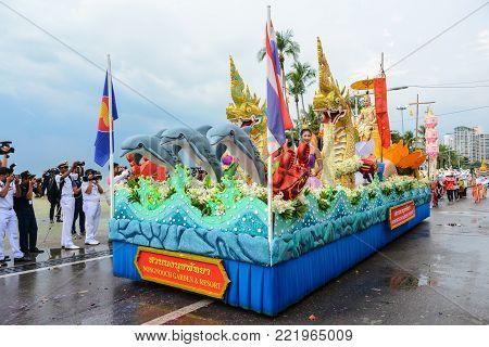Pattaya, Thailand - November 19, 2017: Nongnooch Garden & Resort parade marching on the 50th anniversary ASEAN International Fleet Review 2017 to promote tourism in Pattaya city of Thailand