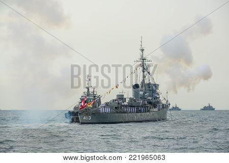 Pattaya, Thailand - November 20, 2017, Navy warship gunning salute on sea on the 50th anniversary ASEAN international fleet review 2017 in Pattaya, Thailand