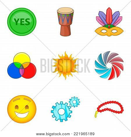 Merriment icons set. Cartoon set of 9 merriment vector icons for web isolated on white background