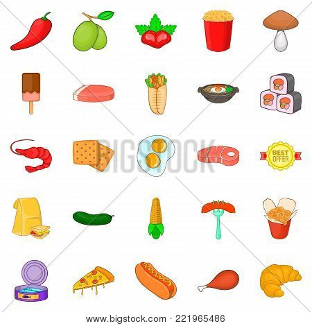 Partake icons set. Cartoon set of 25 partake vector icons for web isolated on white background