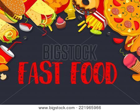 Fast food restaurant of bistro cafe poster design template for burgers, pizza and hot dog sandwiches takeaway or delivery. Vector fastfood meals of cheeseburger, hamburger and popcorn or ice cream
