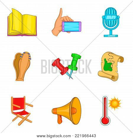 Trade show icons set. Cartoon set of 9 trade show vector icons for web isolated on white background