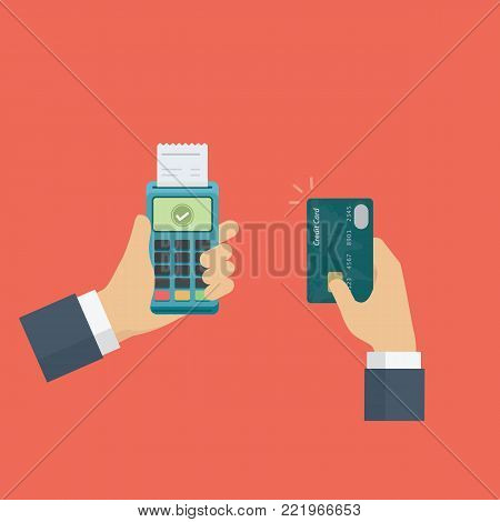 Hand holding edc terminal and credit card. credit card payment