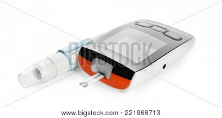 Digital glucometer and lancet pen on white background. Diabetes management