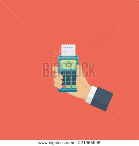 Hand Holding Pos Payment Terminal. Cashless Payment Illustration