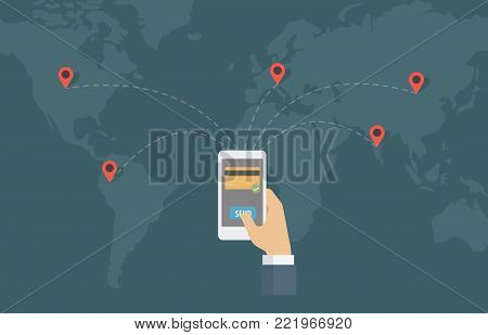 Online Money Transfer Around The World. People send money online with smartphone in other location on the world