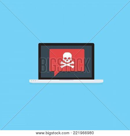 Laptop with skull and crossbones notification. virus attack, ransomware, malicious software, hacker attack, black Mail Illustration
