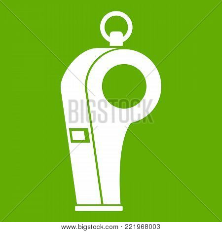 Whistle of refere icon white isolated on green background. Vector illustration