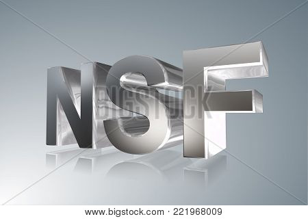 Accounting term - NSF - Non-Sufficient Funds   Check- 3D image