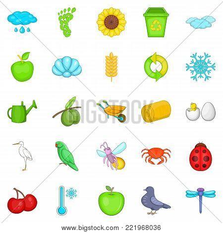Ecological diversity icons set. Cartoon set of 25 ecological diversity vector icons for web isolated on white background