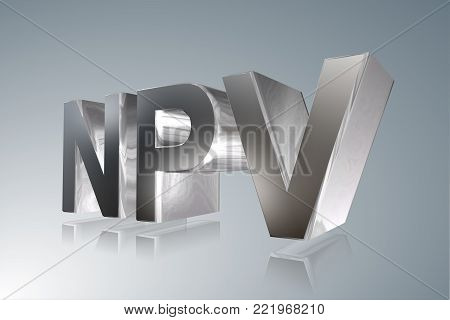 Accounting term - NPV -Net Present Value- 3D image