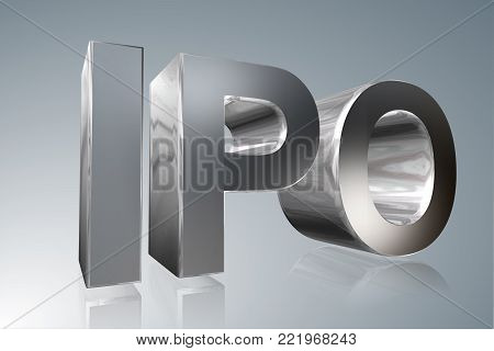 Accounting term - IPO - Initial Public Offering - 3D image