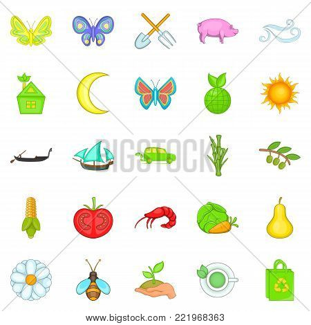 Ecological icons set. Cartoon set of 25 ecological vector icons for web isolated on white background