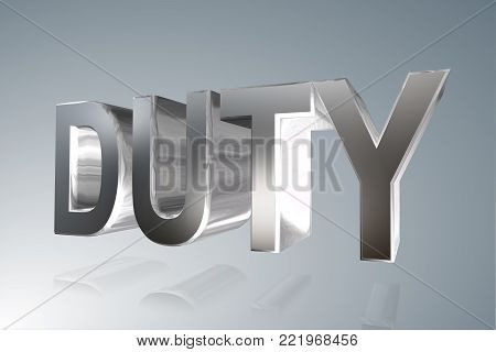Accounting term - Duty- 3D silver image