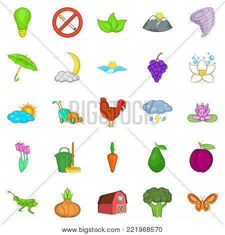 Improvement of ecology icons set. Cartoon set of 25 improvement of ecology vector icons for web isolated on white background