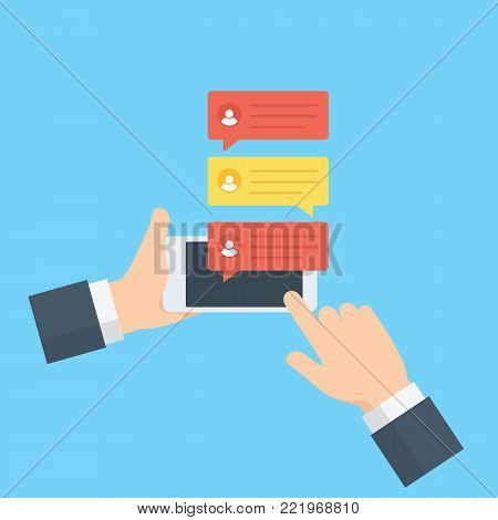Hand holding a mobile phone, sending message with online chat. flat chat bubbles notification on mobile phone screen. Social Media Illustration