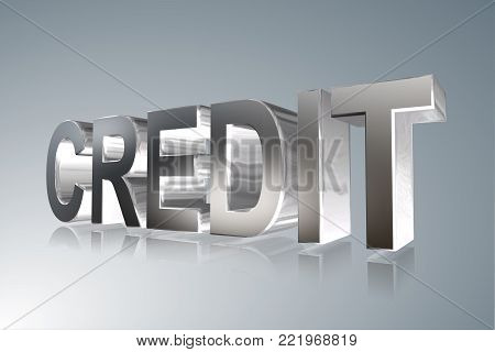 Accounting term - Credit -   3D image