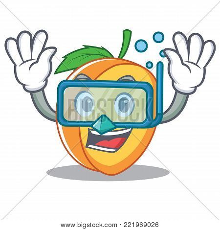 Diving apricot character cartoon style vector illustration