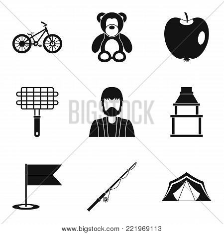 Home environment icons set. Simple set of 9 home environment vector icons for web isolated on white background