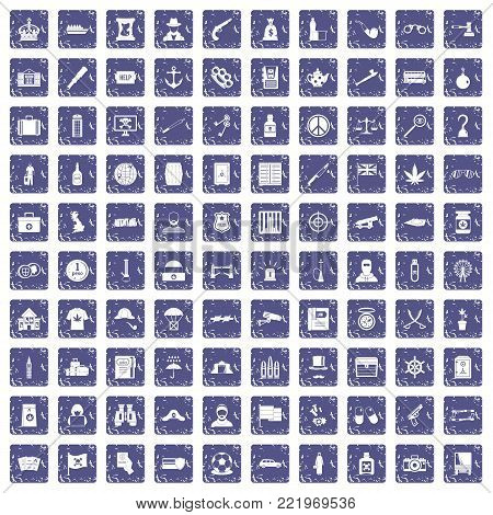 100 offence icons set in grunge style sapphire color isolated on white background vector illustration